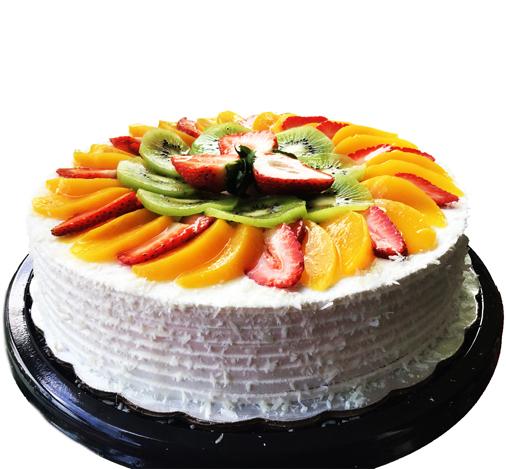 Torta fría de frutas con ron. Sin gluten, sin lácteos, sin soya