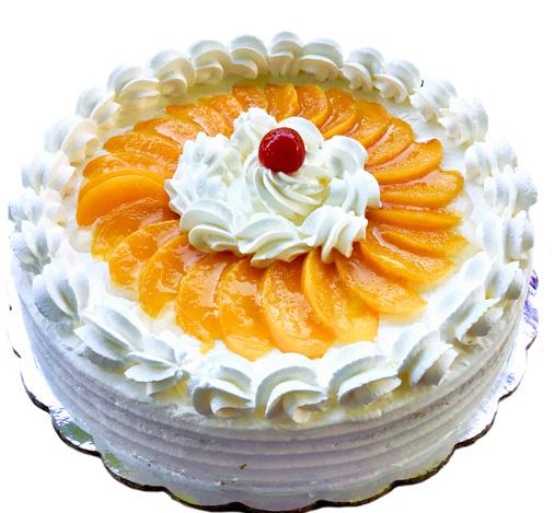 Torta fría de melocotón 15 porciones sin gluten, sin soya, sin lactosa, sin caseina.