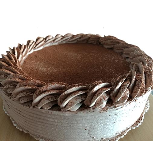 torta fría de moka sin gluten, sin lactosa, sin caseina, sin soya.